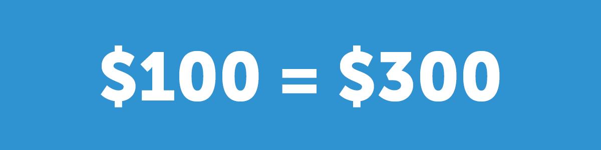 $100=$300