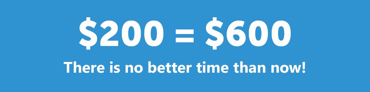 $200=$600